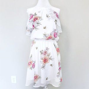 Maurices White Floral Ruffle Fit and Flare Dress
